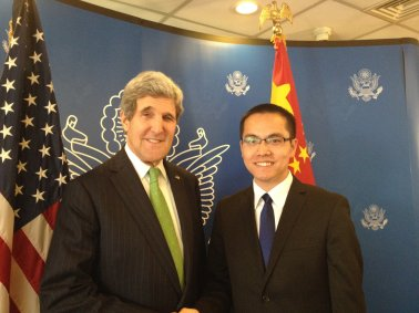 Zhang Jialong and Secretary Kerry on February 15, 2014.