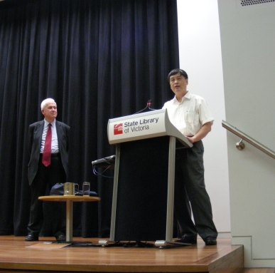 Prof Xu Youyu (right) delivering the Green Lecture in Melbourne,  20 November 2012, chaired by Prof Wallace Kirsop.