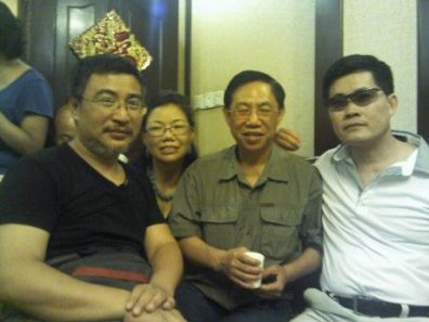 A gathering in Beijing in June 2012. From left to right: Li Huaping, Xiao Guozhen, Hu Shigen and