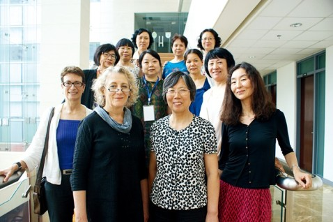 Professor Wang Zheng (far right on 2nd row) in a Chinese feminist forum at Nanjing University, 2014.
