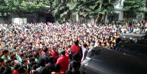Workers on strike at Lide Shoe Factory in April, 2015, in Guangdong.