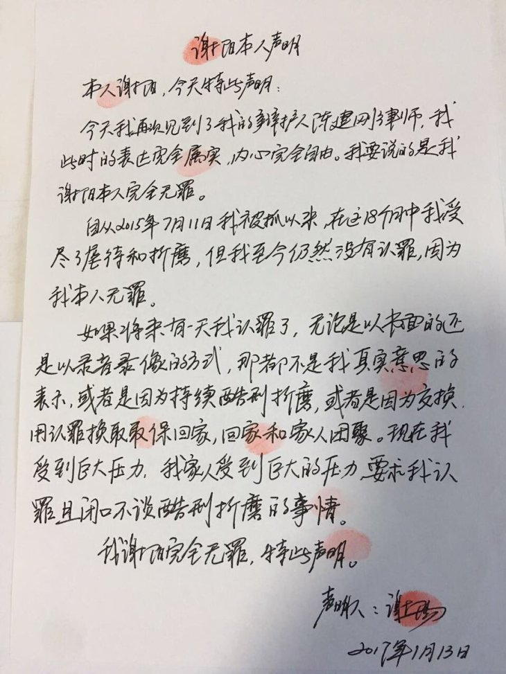 Xie Yang statement, Jan 13, 2017